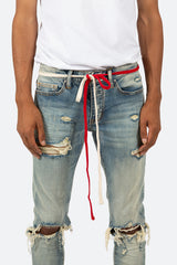 Two Tone Drawcord Belt - Red/White - mnml