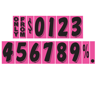 "7 1/2 inch Hot Pink Adhesive Number {EZ140}, 7 1/2"" Adhesive Numbers - Auto Apparel"
