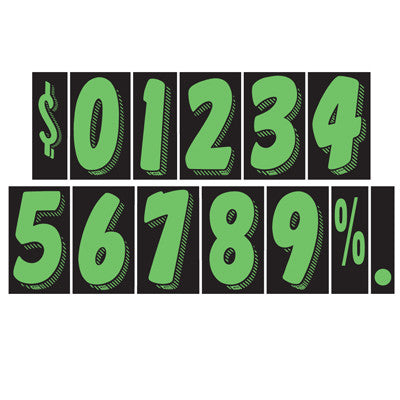 "7 1/2 inch True Green & Black Adhesive Number {EZ157}, 7 1/2"" Adhesive Numbers - Auto Apparel"