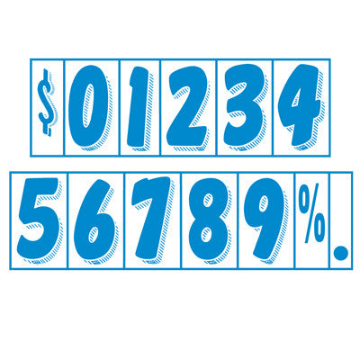 "7 1/2 inch Blue & White Adhesive Number {EZ164}, 7 1/2"" Adhesive Numbers - Auto Apparel"