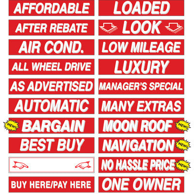 15 inch Red & White Sign {EZ166}, Slogans - Auto Apparel