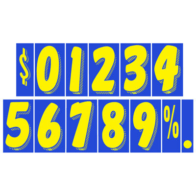 "7 1/2 inch Blue & Yellow Adhesive Number {EZ167}, 7 1/2"" Adhesive Numbers - Auto Apparel"
