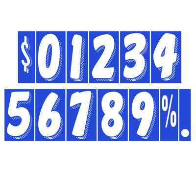 "7 1/2 inch White & Blue Adhesive Number {EZ189}, 7 1/2"" Adhesive Numbers - Auto Apparel"