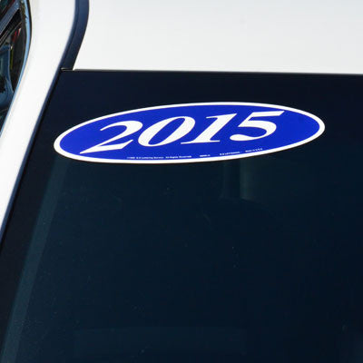 White & Blue Oval Year Model {EZ198-WB}, Oval Products - Auto Apparel