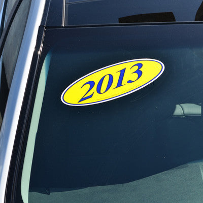 Blue & Yellow Oval Year Model {EZ198-B}, Oval Products - Auto Apparel