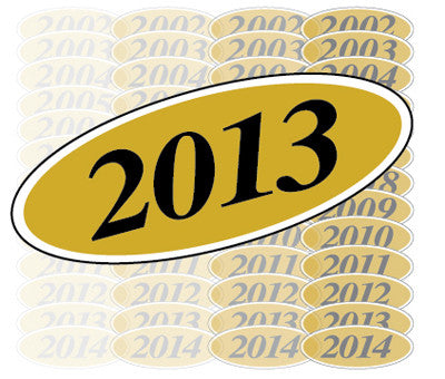 Gold & Black Oval Year Model {EZ198-G}, Oval Products - Auto Apparel