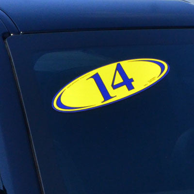 Blue & Yellow Two Digit Oval Year Model {EZ225-B}, Year Models - Auto Apparel
