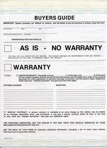 Buyers Guide Forms As-Is{EZ230-ASIS}, Forms & Form Holders - Auto Apparel