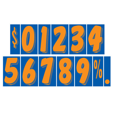 "7 1/2 inch Orange & Blue Adhesive Number {EZ263}, 7 1/2"" Adhesive Numbers - Auto Apparel"