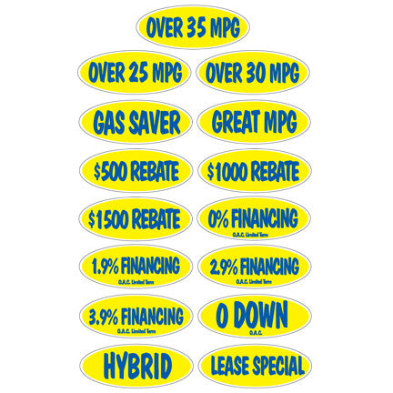 Blue & Yellow Incentive Slogans {EZ266-BY}, Oval Products - Auto Apparel