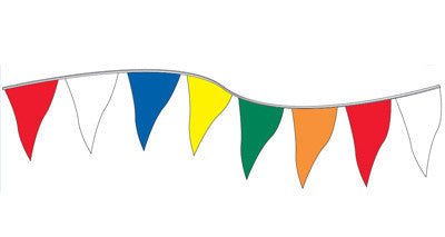 60ft. Plasticloth Pennants {EZ316}, Colored & Checkered Pennants - Auto Apparel