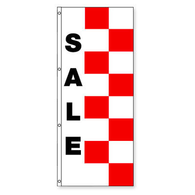 Double Face Red & White Race Style Message Flag {EZ440DB-RW}, Checkered Products - Auto Apparel