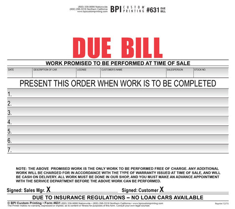 Due Bill, 2-parts (100 pack), Forms & Form Holders - Auto Apparel