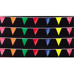 100ft. Fluorescent Pennants {EZ319}, Colored & Checkered Pennants - Auto Apparel