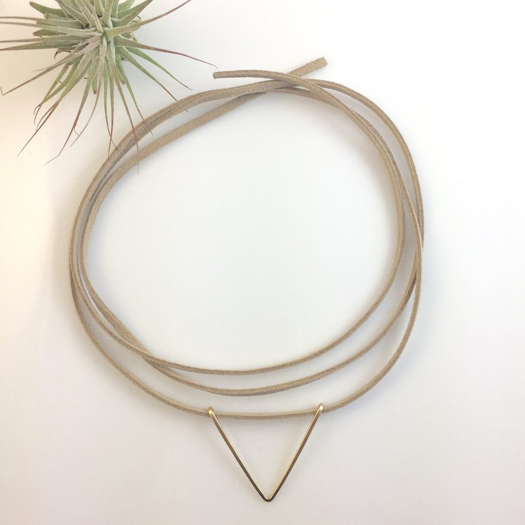 Leather Wrap Choker with Gold V