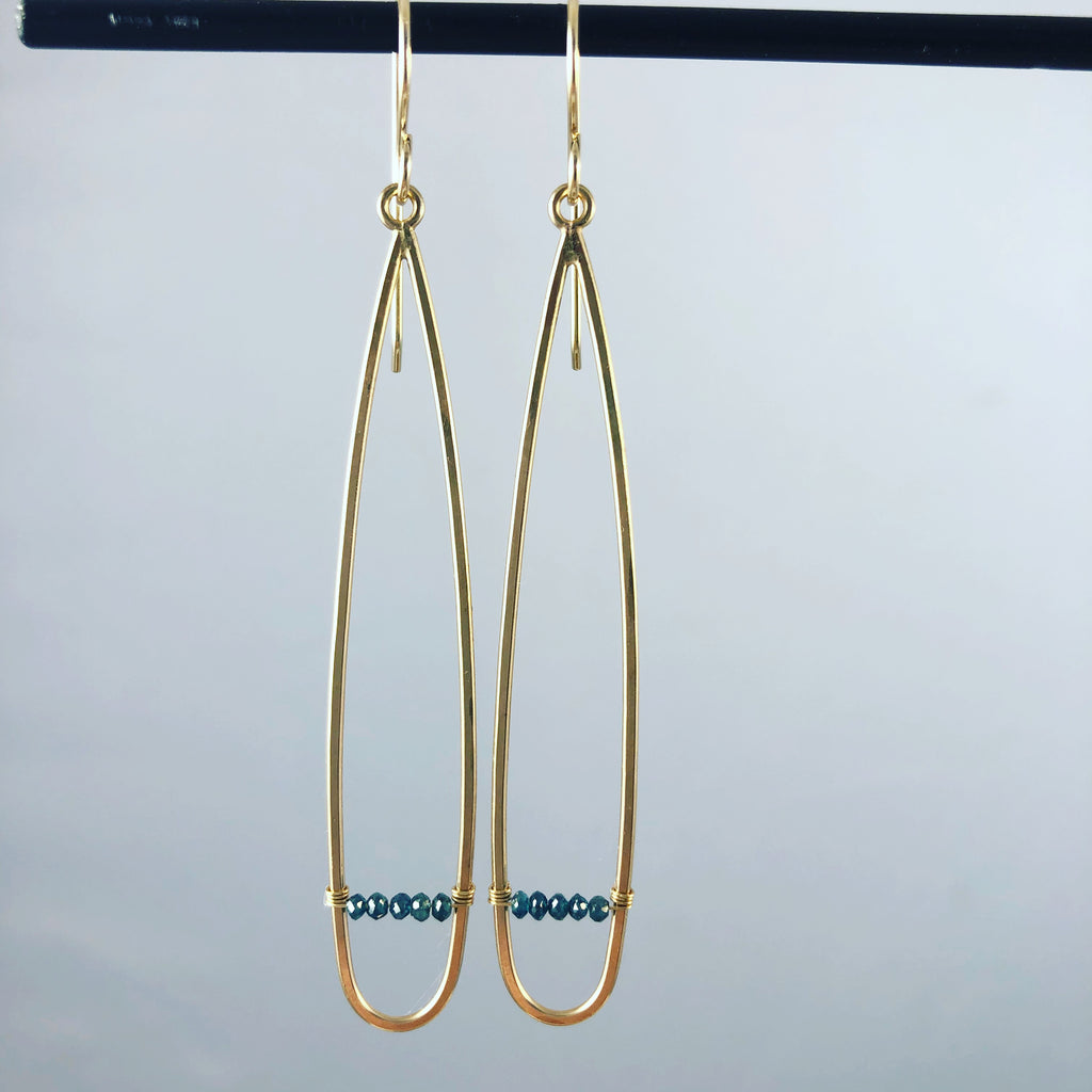 Thin Teardrop Earrings with Diamonds