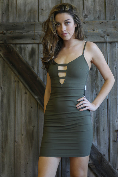 Olive Ladder Bodycon Dress