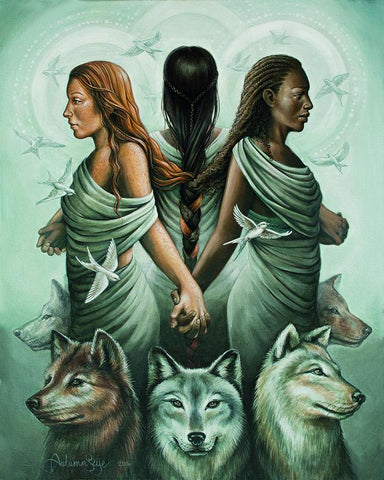 Autumn Skye Art three women holding hands called The Pact