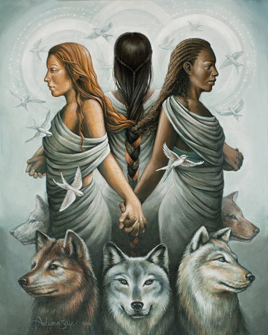 3 women of diversity linked together by the braid made by each womans hair. All holding hands with 3 wolves in the foreground.