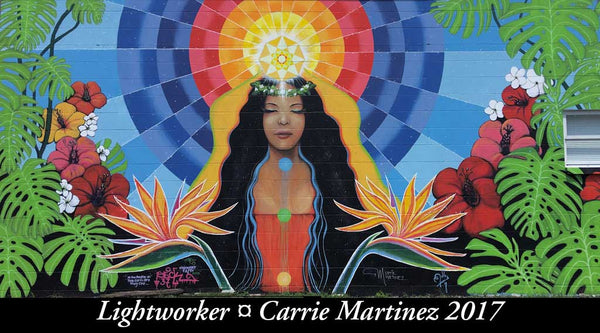 Wall mural by Carrie Martinez-woman balanced qith chakras lit upLightworker