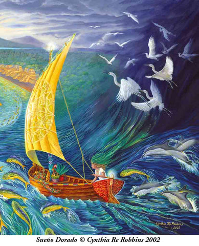 Painting of woman in a sailboat riding the furious sea in a storm. Dolphins, birds, fish jumping all around