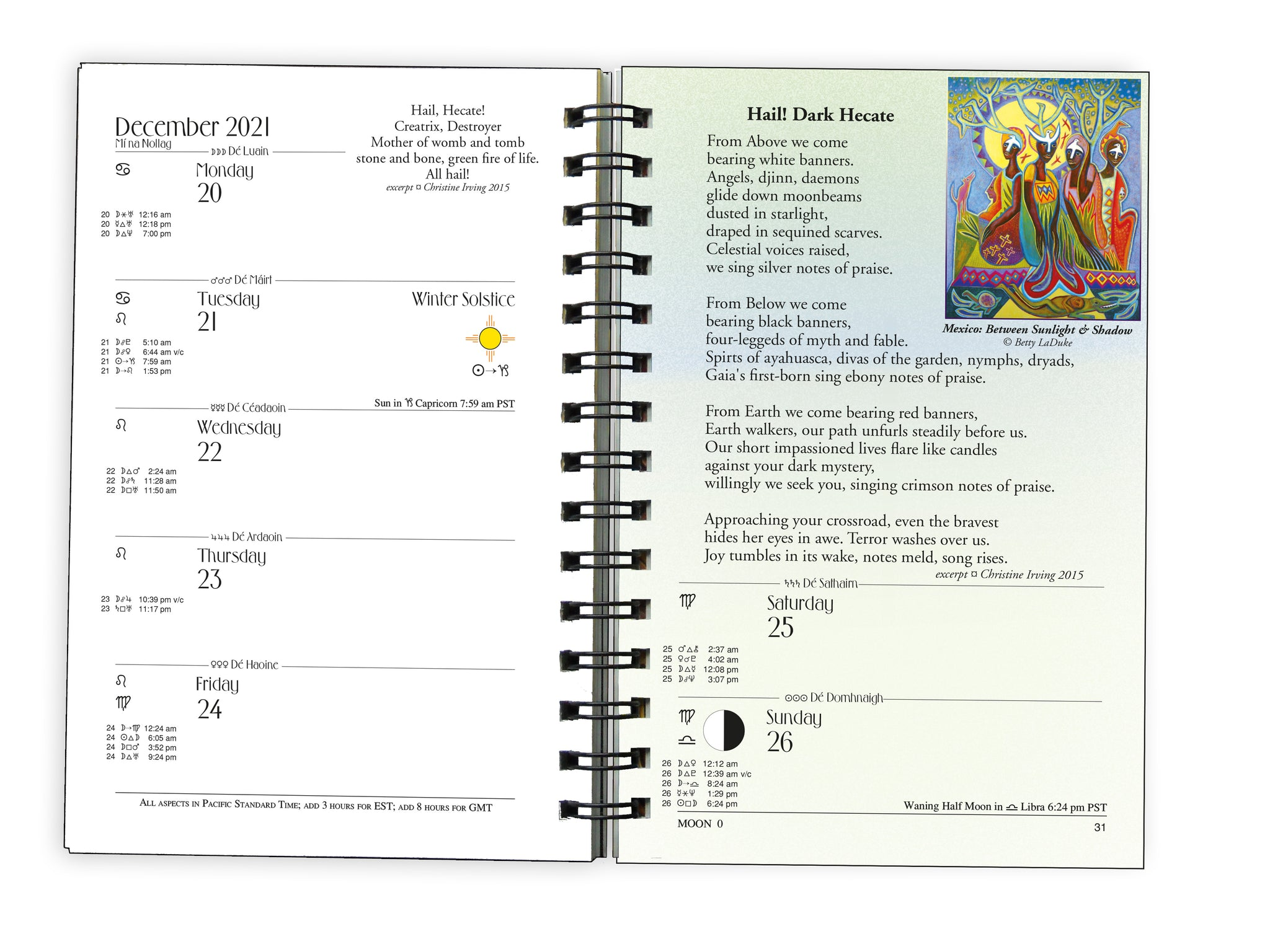 calendar page of We'Moon with astrological data and moon phases an inspirational planner