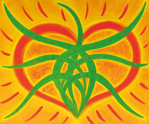 Heart of the Matter © Greta Boann Perry - Graphic painting of an orange Heart exuding green growth energy?