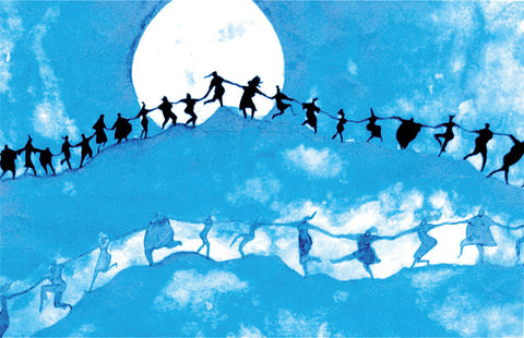 women holding hands in a line in front of the full moon-shadowa on the clouds-moon sisters