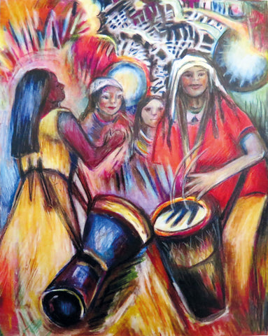 women dancing and playing drums