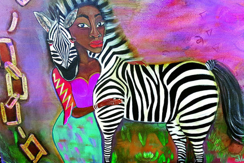 Mandisa Amber art with woman and zebra.