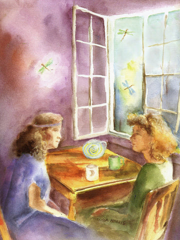 Water Color painting of two women having a conversation over tea called Precious Moments by Melissa Harris