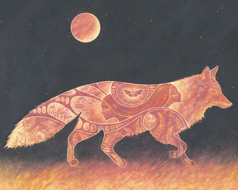 Fox traveling in the night under full moon