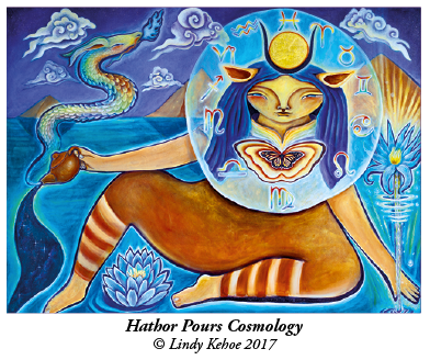 Hathor Pours Cosmology © Lindy Kehoe 2017 image of Hathor pouring a cup of tea