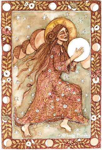 She Drums the Moon © Lucy Pierce 2008—Woman dances and drums
