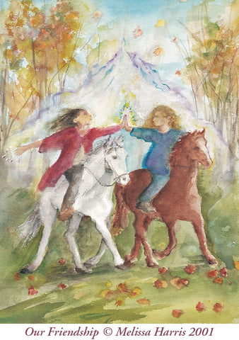 Two young women bareback on horses raching out and touching in joy and friendship.