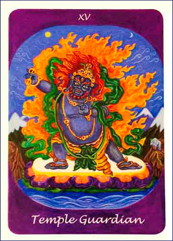 The Temple Guardian card from the Rainbow Earth Tarot  by Margaret Duperley