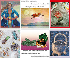 Beautiful art from women around the world in blank greeting cards from the We'Moon astrological and lunar calendar