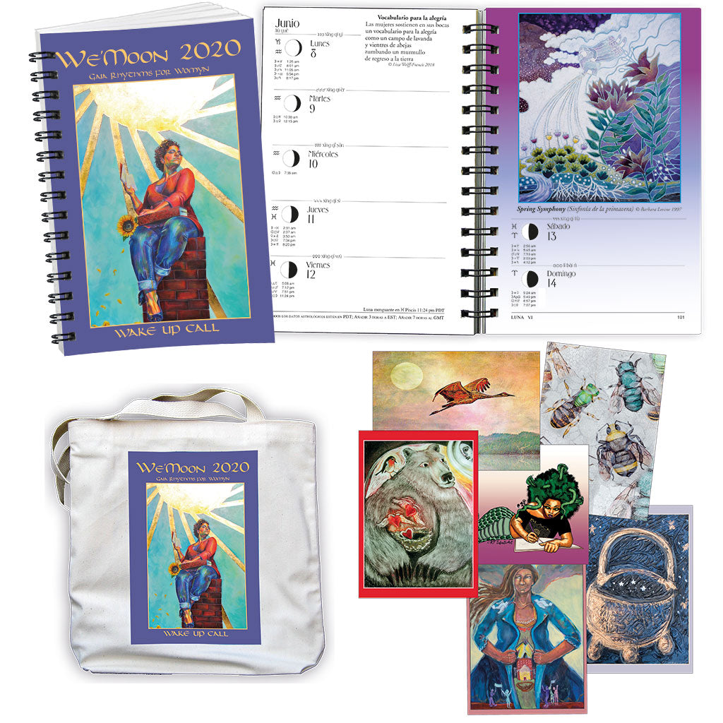 "This perfect gift for the women in your life includes a pack of beautiful art cards, our astrological and moon phase day planner, all in a handy, colorful tote featuring ""Lioness"" inspiring awakened awareness."