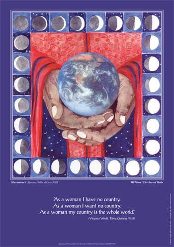 "The art, symbolizing a Cosmic-Mother version of red, white and blue, ""Matriotism"" is a lunar prayer flag of peace."