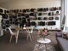 Inside of Jessica's Wig and Beauty Salon, lovely setting with wigs on display