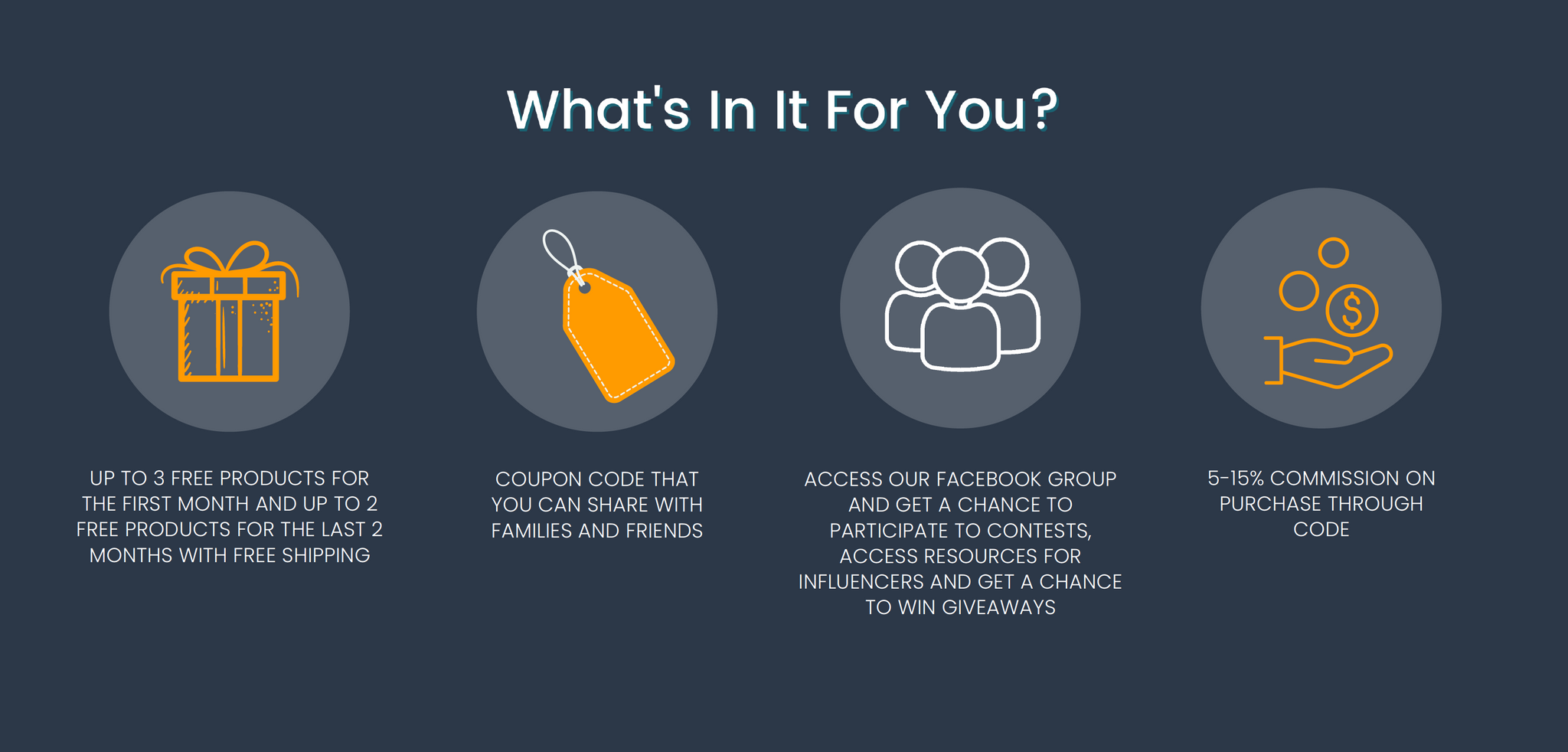 What's in it for you? Up to 3 free products for the first month and up to 2 free products for the last months with free shipping. Coupon code that you can share with families and friends. Access our Facebook group and get a chance to participate in contests, access resources for influencers and get a chance to win giveaways. 5-15% commission on purchases through code.