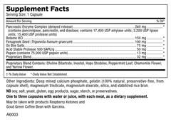 Slim-Zymes supplement facts