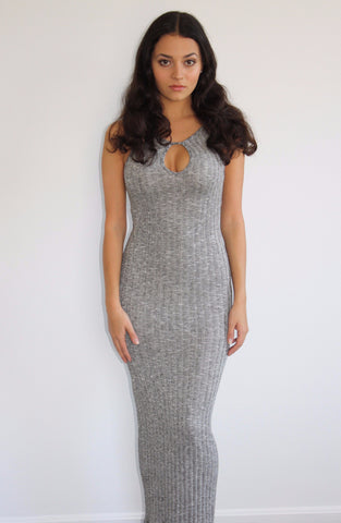 Lock and Key Heather Gray Maxi Dress