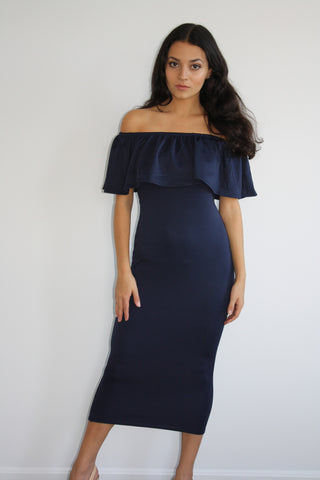 Ruffle Me Up Navy Midi Dress