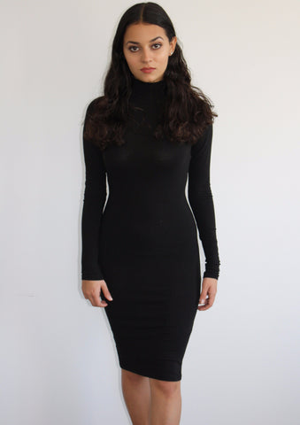 Imani Classic Midi Dress in Black