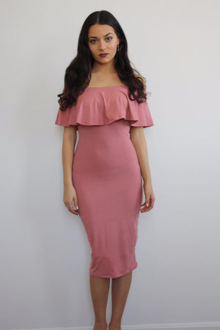 Ruffle Me Up Mauve Midi Dress