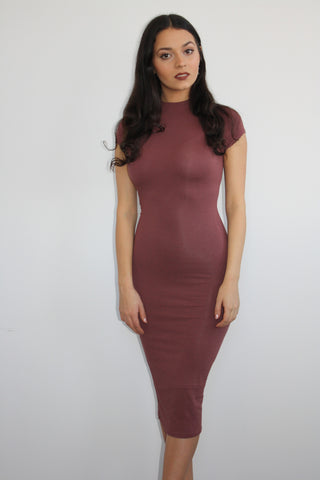 Bahati Basics Burgundy Midi Dress