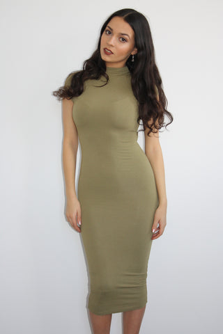 Bahati Basics Olive Midi Dress