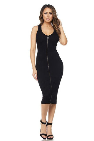 Heart-Breaker Midi Zipper Dress