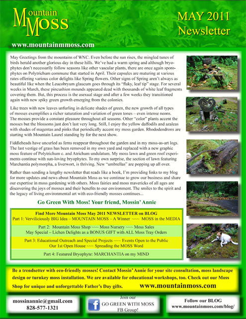 Mountain Moss Newsletter - May 2011